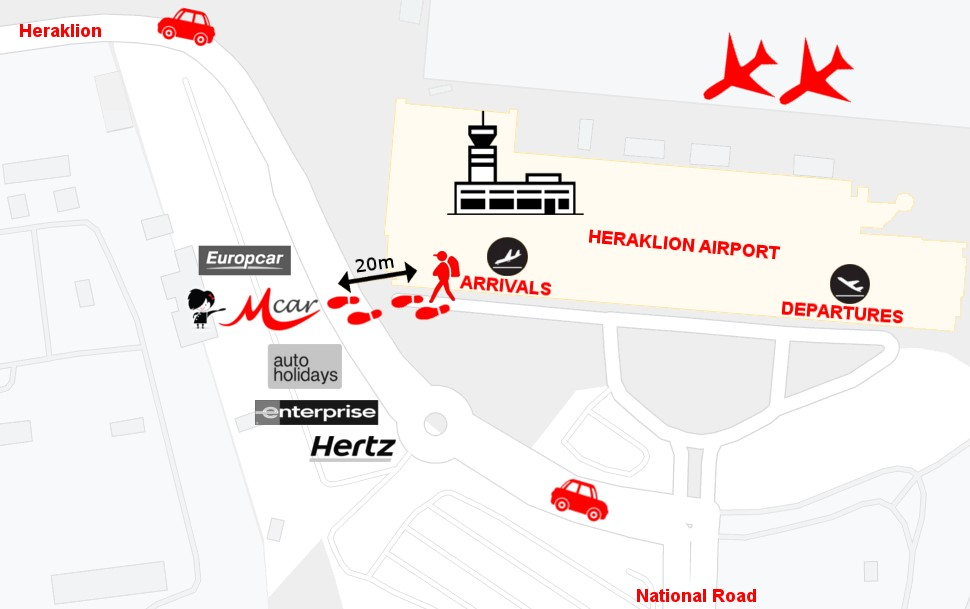 heraklion airport how to find us